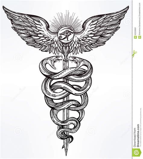 caduceus symbol of god mercury illustration stock vector