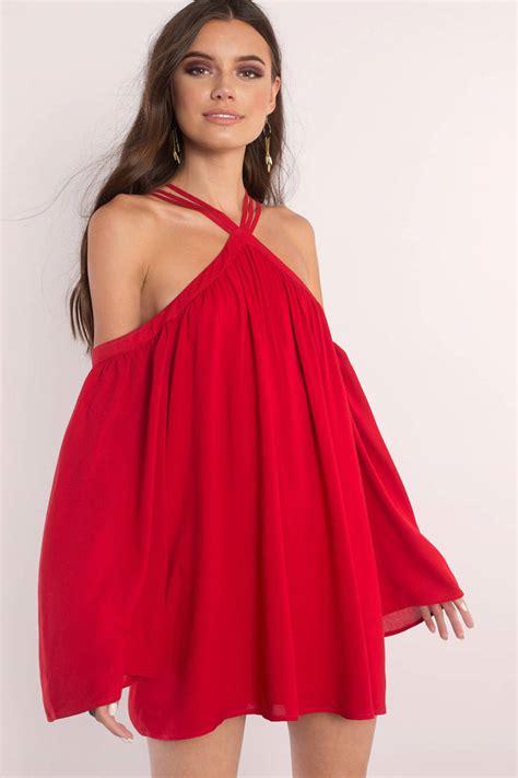 Promo Set Dress Flow dress cold shoulder dress halter swing dress skater dress tobi