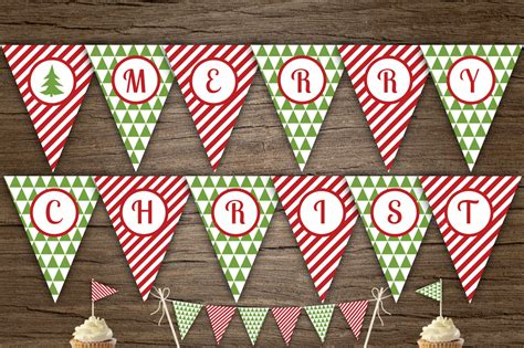 Red Green Merry Xmas Banner Templates On Creative Market Merry Letter Banner Template