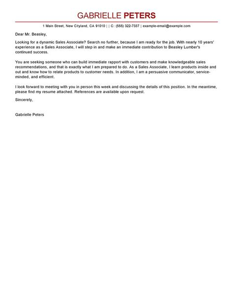 Cover Letter For A Sales Associate by Sales Associate Cover Letter Exles