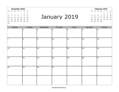 Calendar 2019 January January 2019 Calendar Free Printable Allfreeprintable