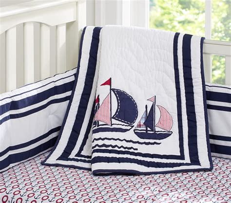 baby nautical bedding boats nursery quilt pottery barn