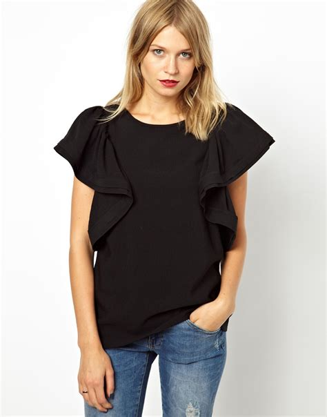 top ruffle penfield asos shell top with dramatic ruffle sleeve in