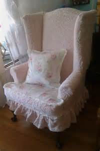 pink shabby chic slipcovered wingback by vintagechicfurniture