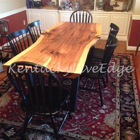 custom  industrial dining table  edge hickory slab