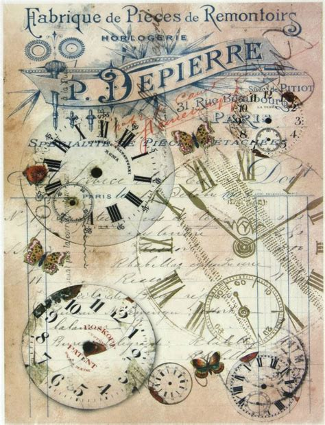 Decoupage Vintage - rice paper montres for decoupage scrapbooking sheet