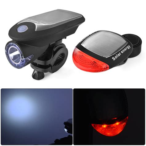 solar bike light solar bicycle led headlight taillight bike warning safety light l set cs458 ebay