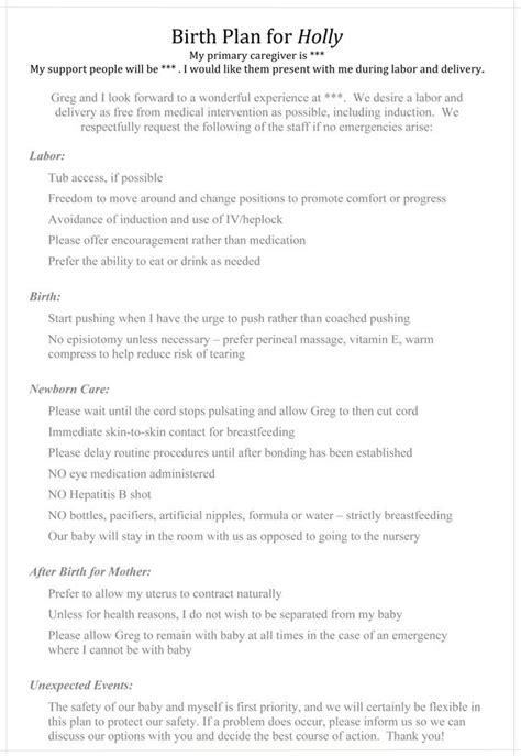 Natural Childbirth Birth Plan Pretty Close To What I Want Including Delayed Cord Cling And Doula Birth Plan Template