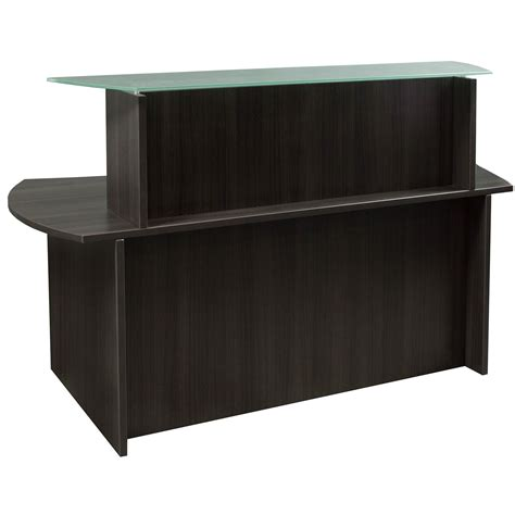 Everyday Glass Top Laminate Reception Desk Gray Reception Office Desks