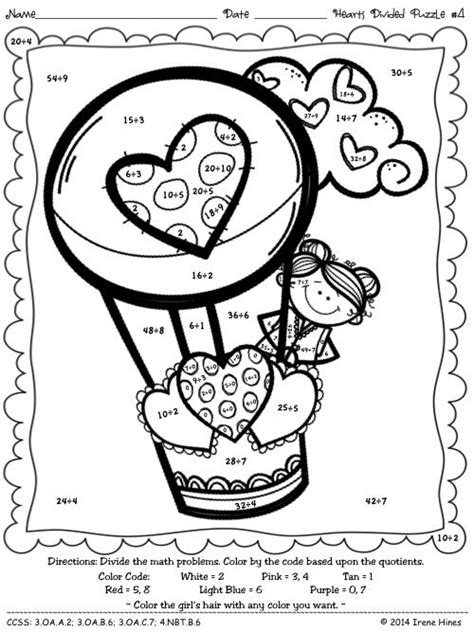 valentine math coloring page hearts divided division math color by the code puzzles