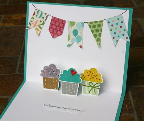 s day cupcake card template stin up pop up cupcake birthday card 3 paper into