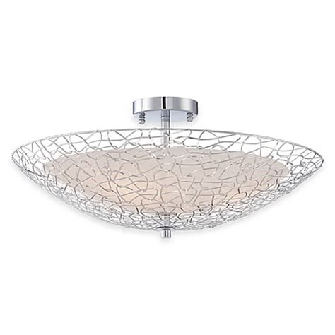Quoizel Flush Mount Ceiling Light Quoizel Platinum Array 3 Light Semi Flush Mount Ceiling Fixture In Polished Chrome Bed Bath