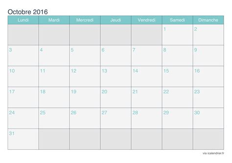 Calendrier Octobre 2016 Calendrier Octobre 2016 224 Imprimer Icalendrier