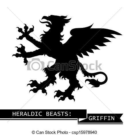 grifo heraldica eps vector de her 225 ldico negro grifo negro her 225 ldico