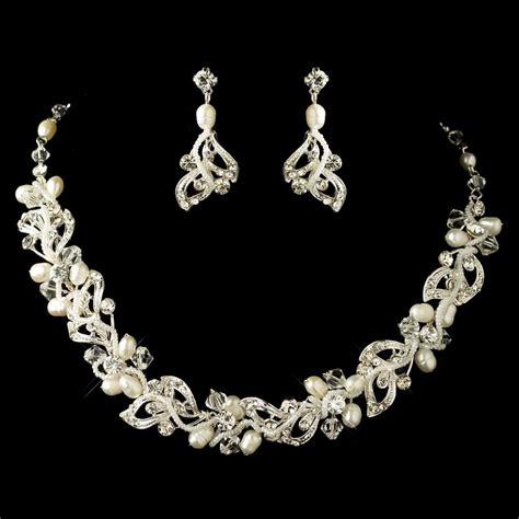 silver swarovski and freshwater pearl jewelry set