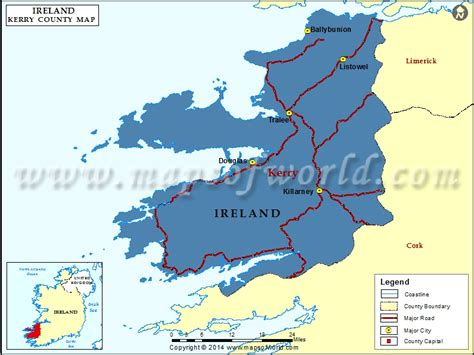 kerry map map  kerry county ireland