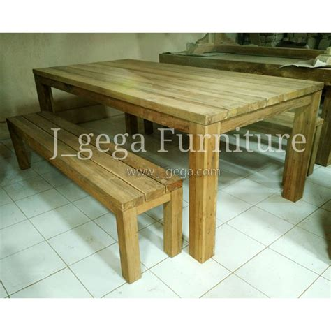 1 Set Meja Makan Kayu Jati meja makan set stool kayu jati minimalis furniture cafe