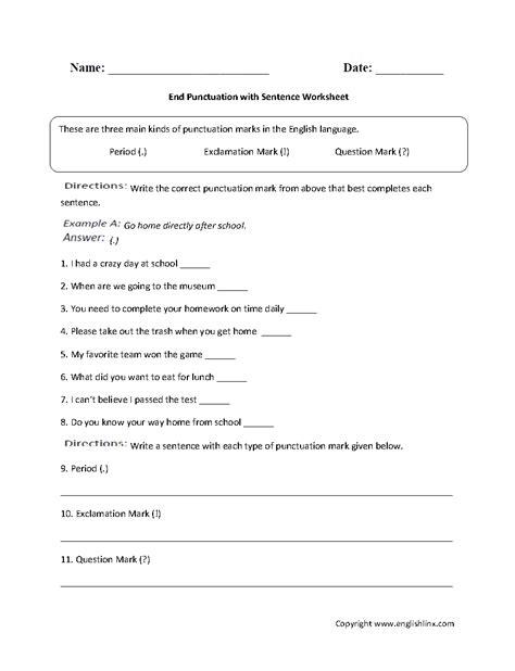 Adding Punctuation Worksheet by End Marks Worksheet Worksheets