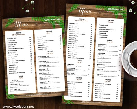 template menu restaurant bar drink menu templates free fingradio tk