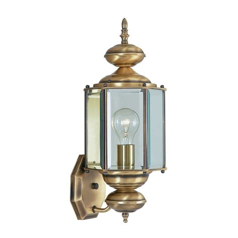 antique outdoor lighting shop livex lighting basics 17 in h antique brass outdoor wall light at lowes com