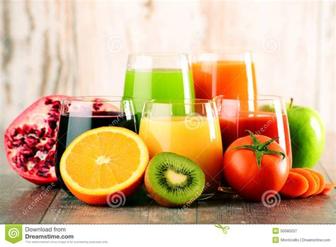 Fresh Fruit Detox Diet by Glasses Of Fresh Organic Vegetable And Fruit Juices