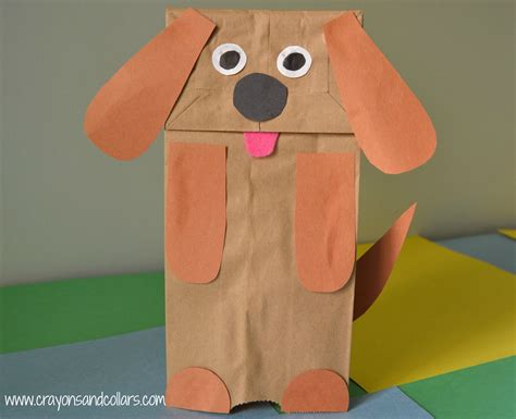 Paper Bag Puppet Craft - crayons and collars with and pets easy paper
