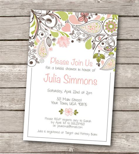 bridal shower template invitations templates vintage wedding shower invitations