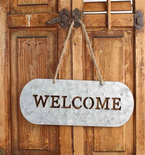rustic galvanized metal quot welcome quot sign signs ornaments