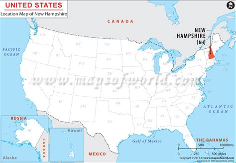 map usa showing new hshire where is new hshire location of new hshire