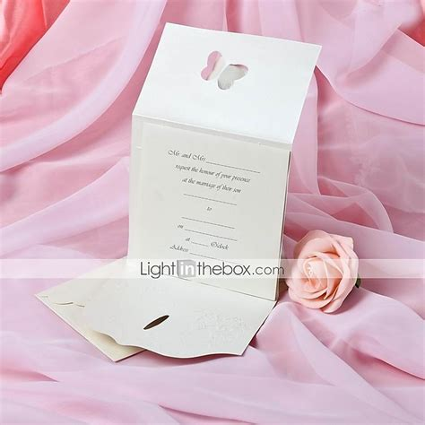 Tri Fold Invitation Paper - pearl paper butterfly tri fold wedding invitation set of