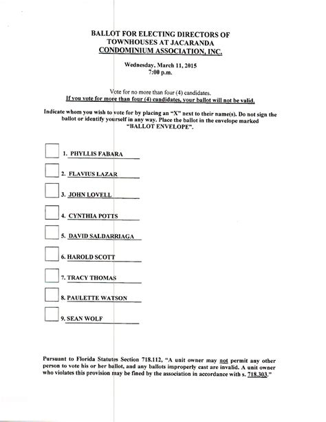 Board Of Directors Voting Ballot Template 29 Images Of Template Board Of Directors Ballot Helmettown Com