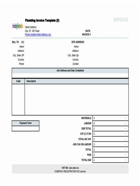 plumbing invoice template plumbing invoice invoice design inspiration