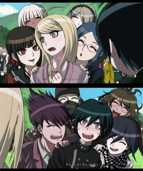 fakta anime danganronpa dangan high kaede and shuichi are being pushed by their