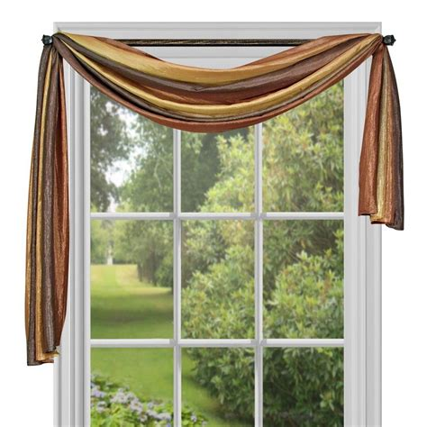 curtain scarf window elements ashville printed blue sheer curtain scarf