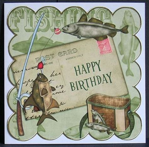 Fishing Birthday Cards Olive Fishing Happy Birthday 8in Decoupage Step By Step