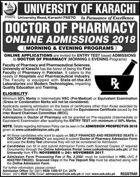 Karachi Mba Admission 2017 Evening by Of Karachi Pharm D Admission Open 2017 Studypk