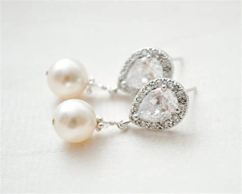 Perlenohrringe Hochzeitsschmuck by Bridal Earrings Drop Pearl Earrings Ivory By Sarahwalshbridal