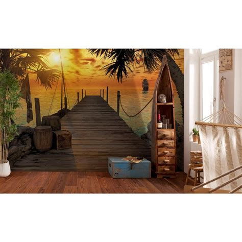 home depot wall murals komar 100 in x 145 in treasure island wall mural 8 918 the home depot