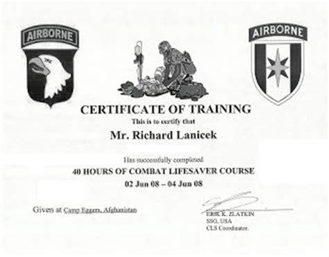 combat lifesaver certificate template rick in afghanistan 06 01 2008 07 01 2008