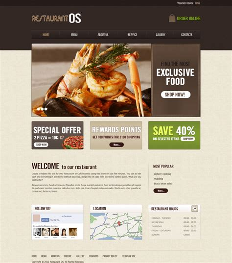 Restaurant Fast Food Takeaway Pizza Website Templates Restaurant Website Template