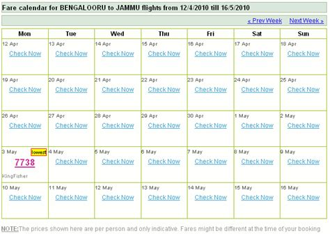 Flight Calendar 90di 187 Lowest Fare