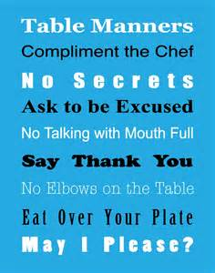 Table Manners by Basic Table Manners Free Printable True Aim