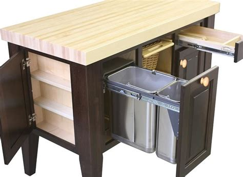 kitchen island with trash bin northern heritage kitchen island and block set
