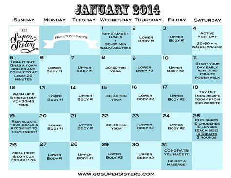 30 day fitness challenge calendar january 2014 free 30 day challenge calendar