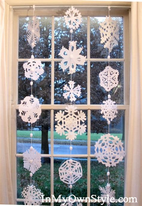 How To Make Hanging Paper Snowflakes - how to make a no sew paper snowflakes window curtain in