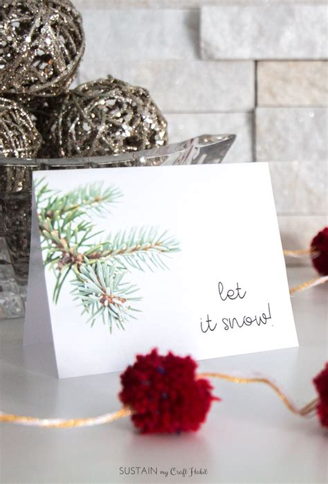 decembers  winter printable greeting card template sustain  craft habit