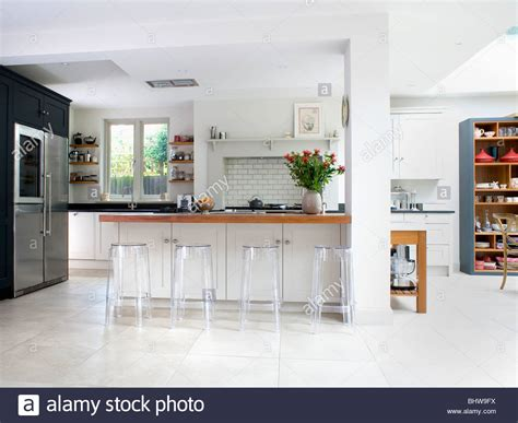white modern breakfast bar kitchen beautiful kitchens perspex stools at breakfast bar in large modern white
