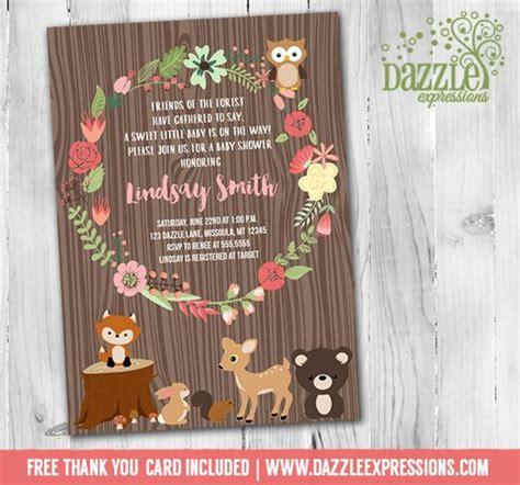 free printable animal invitations printable woodland baby shower invitation floral wreath