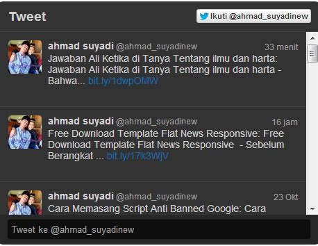 cara membuat status twitter cara memasang widget status twitter di blog yobertparai blog