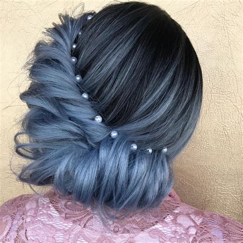 Updo Hairstyle Accessories by Ash Blue Hair Updo Hairstyles With Pearl Accessories